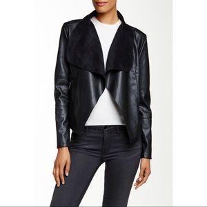 Bagatelle Black Faux Leather Drape Jacket Size L